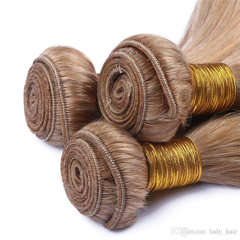 9A 최고 품질 말레이시아 허니 금발 인간의 머리카락 # 27 딸기 금발 부드러운 스트레이트 인간의 머리카락 묶어 무료 배송