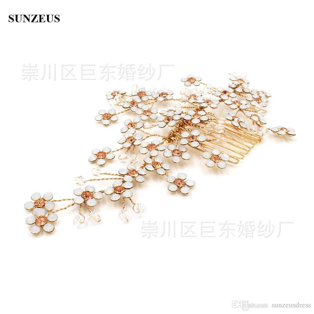 Flores de lujo peine del pelo de la vendimia Accesorios de cabeza nupcial hechos a mano de alta calidad Peines de oro al por mayor para la boda
