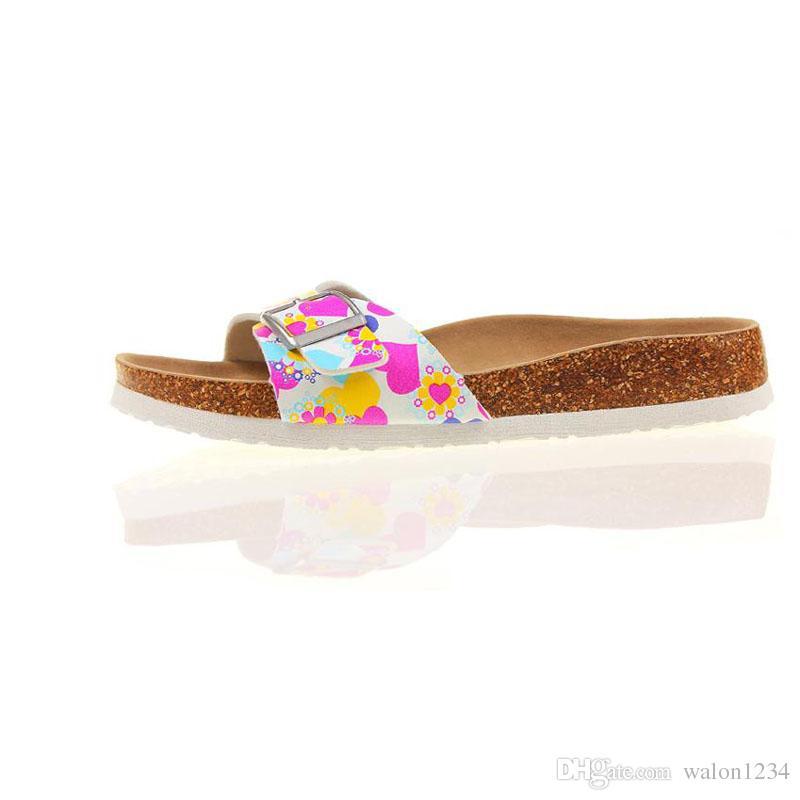 Мода Лето Пробка Тапочки Сандалии Женщины Повседневная Пляж Смешанный Цвет Шлепанцы Слайды Обуви Плоские Бесплатная Доставка
