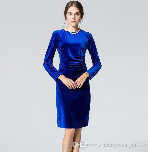 d0f5595f32f Acheter Femmes Vin Rouge Noir Bleu Vert Robes Hiver Velours Vestidos  Chaudes Robes Manches Longues Occasionnel Genou Longueur Bureau Travail  Plus La Taille ...