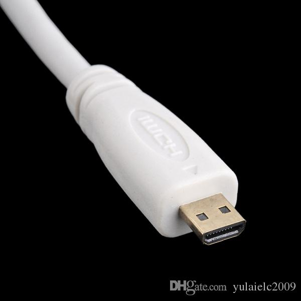 / Câble Micro HDMI Type D vers HDMI Type A - Connecteurs 24K Gold - idéal pour connecter des périphériques HD à l'aide du nouveau micro HDMI blanc