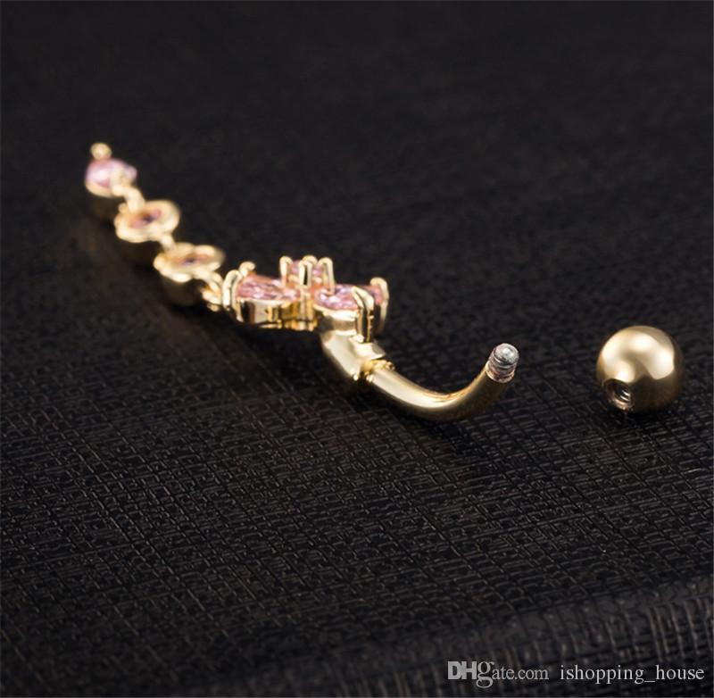 Горячие модные 18k белый позолоченный кристалл цветка животноводный кольцевой пирсинг кольцо ювелирных изделий Piercing BR-096