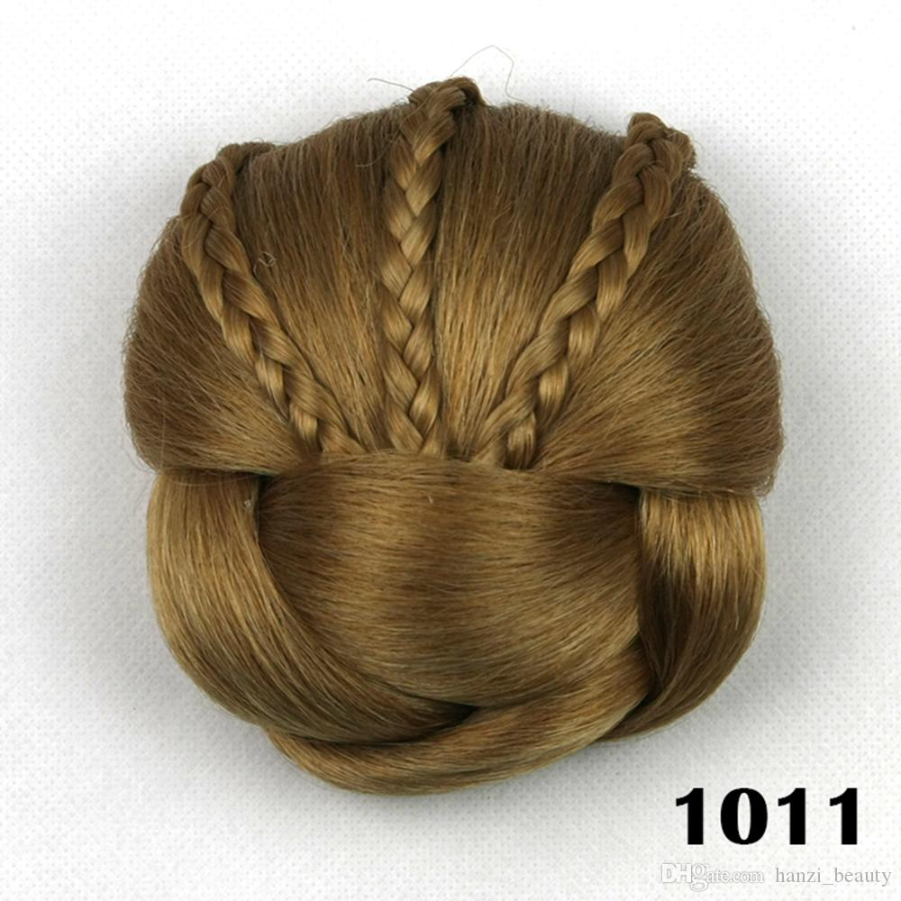 hanzi_beauty Soloowigs Heat Resistant Fiber Women Clip-in Braided Chignon Synthetic Hair Buns for Brides