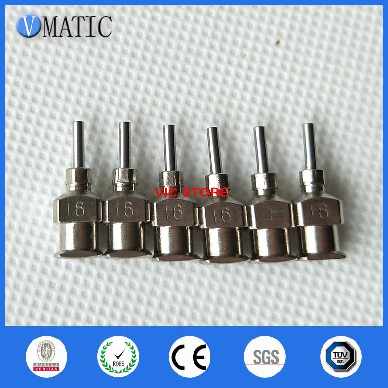 Envío gratis de alta precisión todos los puntas de metal 16G 1/4 pulgada Blunt acero inoxidable agujas de dispensación puntas de la jeringa