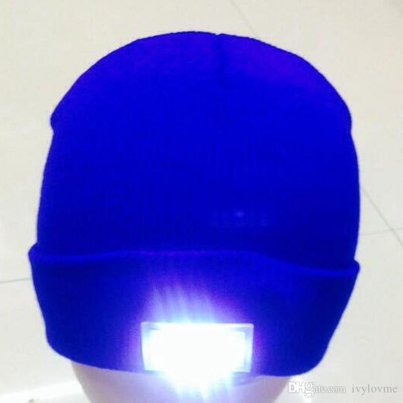 Оптовая светодиодные светящиеся зимняя шапочка Flash LED светящиеся вязаные шапки кемпинг светящиеся Hat 5 LED свечение вязание hat для Рождества