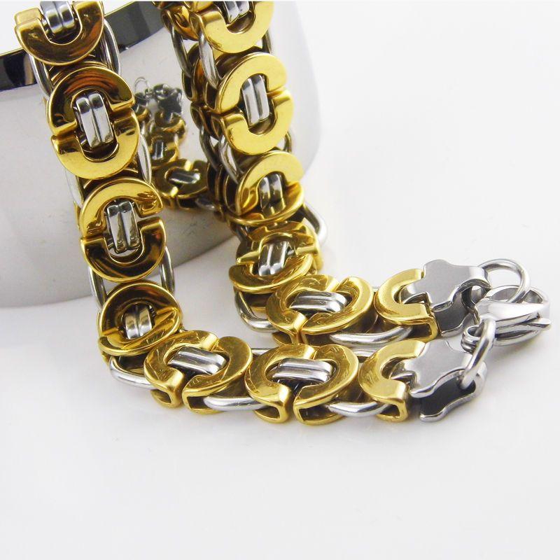 55 سم طول 11 ملم العرض البيزنطية الفولاذ المقاوم للصدأ قلادة رجالي بنين سلسلة قلادة الذهب لهجة أزياء الرجال المجوهرات