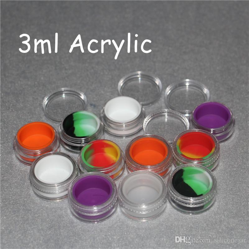 Atacado 3 ml de plástico transparente recipientes de cera de acrílico silicone jar recipiente de cera dab, silicone dab frasco de vidro recipientes de óleo