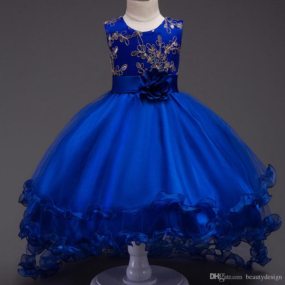 2017 New Elegante Royal Blue Champagne Flower Girls Abiti Princess Ball Gown Girocollo Fiori Bambini Prima comunione Festa di compleanno MC1049
