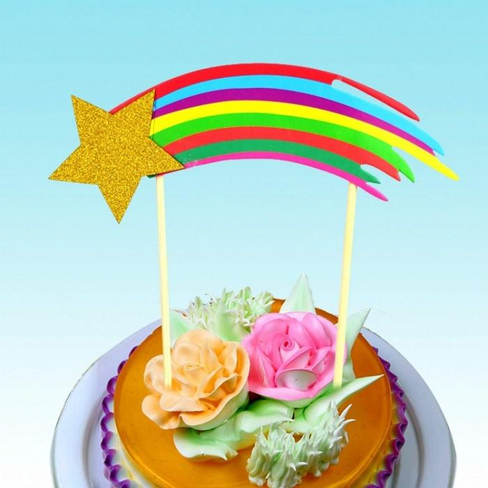 Cake Toppers Shooting Stars Rainbow Paper Cards Banner For Cupcake Wrapper Baking Cup Birthday Tea Party Wedding Decoration Baby Shower