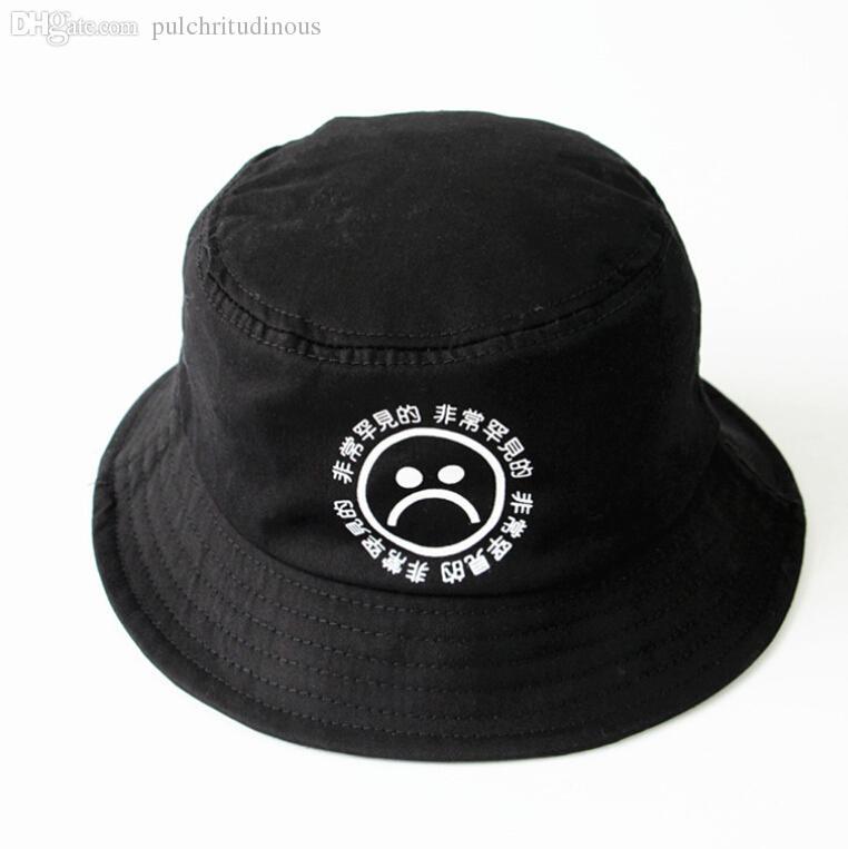 Wholesale Do Not Fade Cotton Breathable Black Print Hip Hop Cap Sad Boys  Panama Bucket Hats Men Bob Boonie Fishing Hat Boonie Hat Fedoras From ... 2fb15a6c358