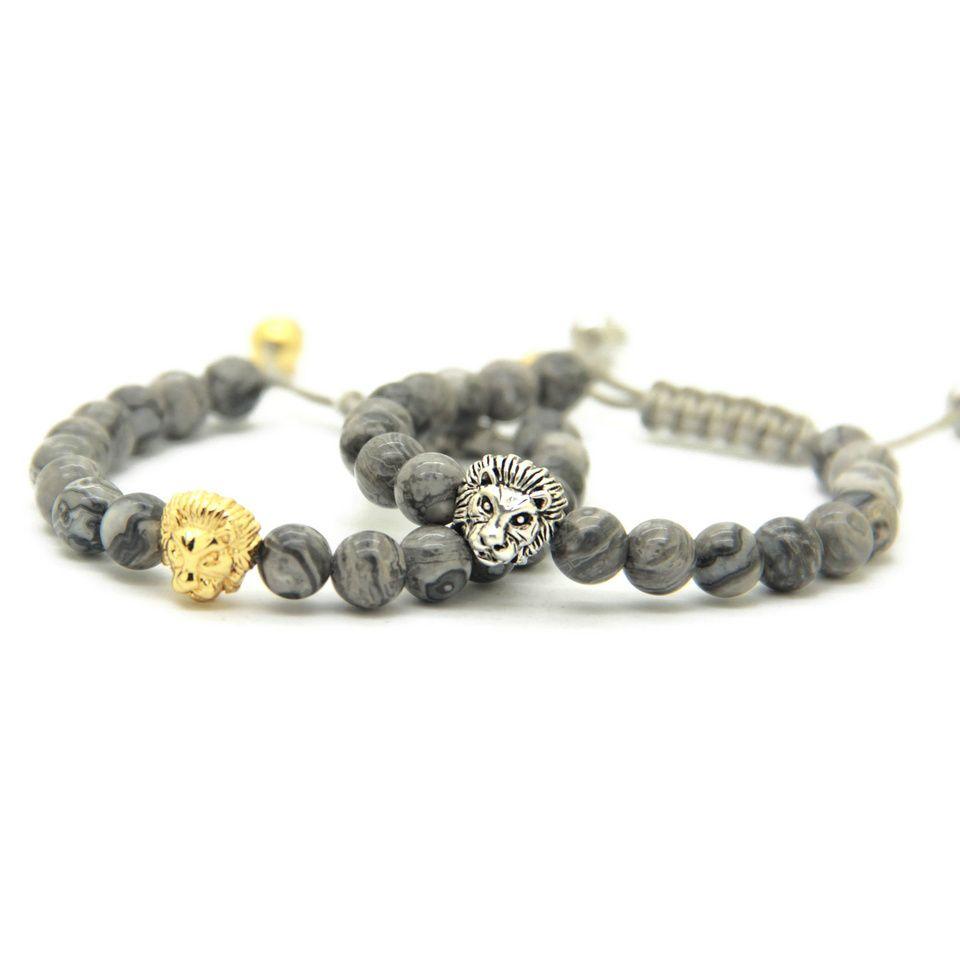 Hot Sale Retail Men's Bracelets 8mm Stone Beads Gold Silver Plated Lion Head Braiding Bracelets