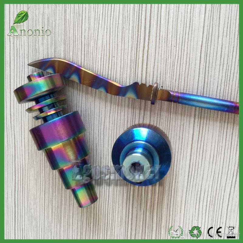 Verre coloré arc-en-Quartz Nails Domeless Titanium Nails set 6 en 1 10 mm 14 mm 18 mm femelle / mâle Carb Cap arc-en-Ti Nail dabber