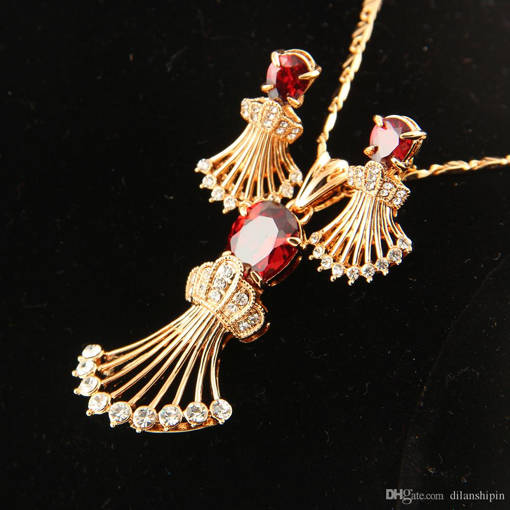 jewelry sets 18k champagne gold plating wedding popular ruby Cubic zirconia fashion dubai women crystal classic necklace earings