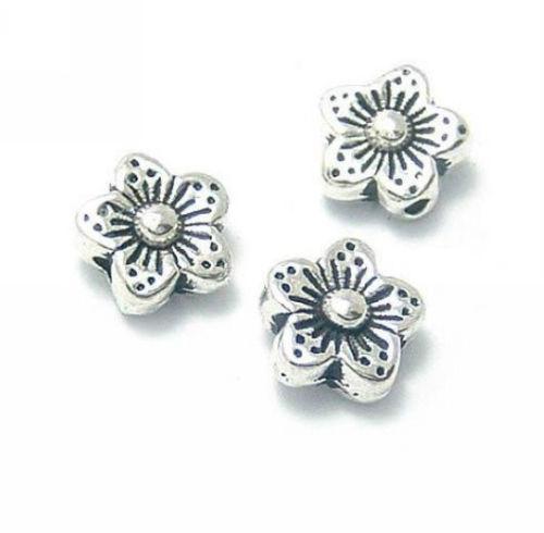 Livre Tibetano Prata Flor Spacer Beads Para Fazer Jóias 8.5x4mm