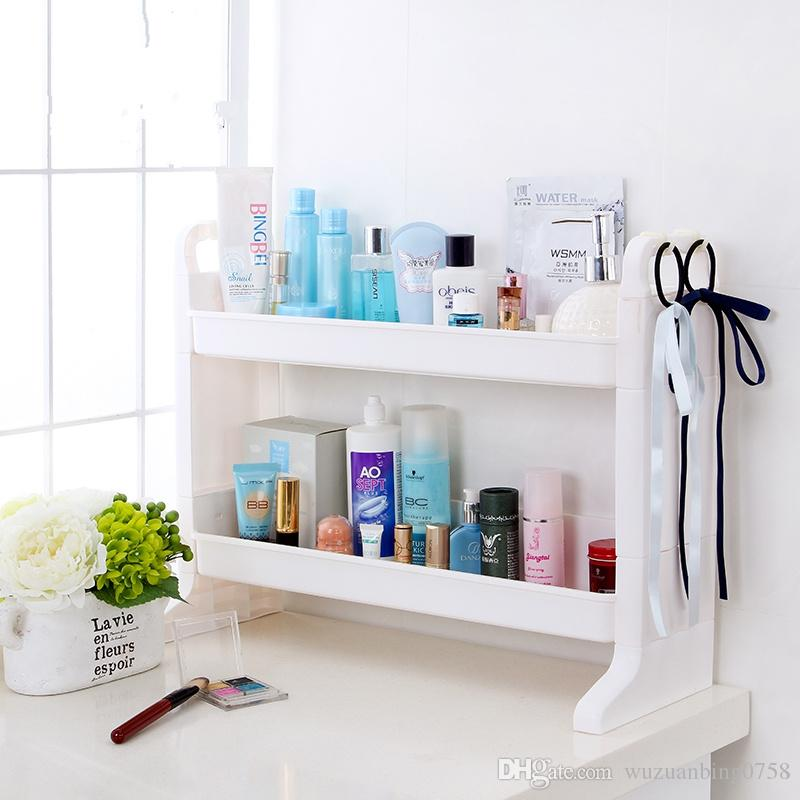 2018 Diy Plastic Double Layer Bathroom Storage Rack Kitchen Sink ...