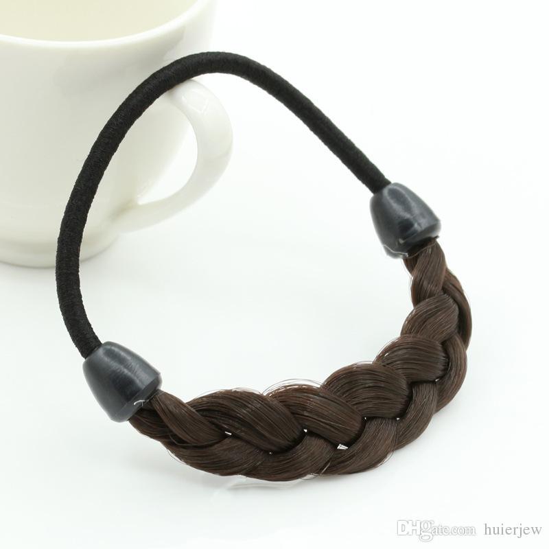 Horquilla de pelo coreano Anillo de cuerda de pelo Trenzado elástico Tonytail Wrap Hairband Accesorios de sujeción Sombreros de cabeza sintética Soporte de cola de caballo Joyas para el cabello