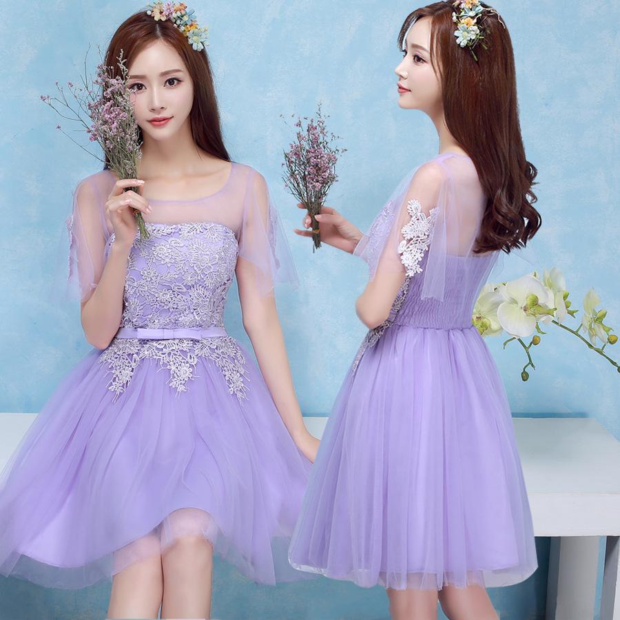 Celebrity Wedding Guest Outfits 2019: 2018 New Lavender Short Bridesmaid Dresses Women Wedding