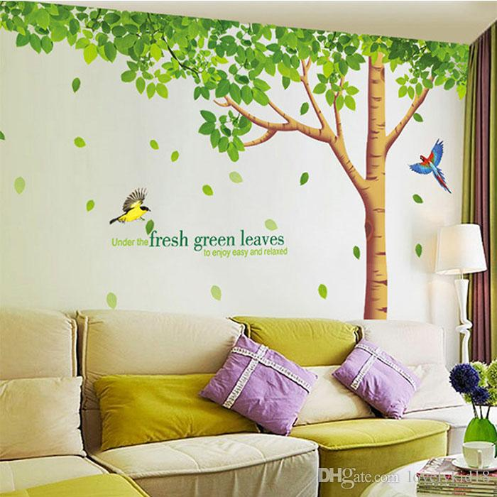 Large Green Tree Birds Wall Stickers Fresh Leaves Wall Decals Wallpapers  For Home Bedroom Living Room Decorations Ws196 Deco Wall Sticker Deco Wall  Stickers ...