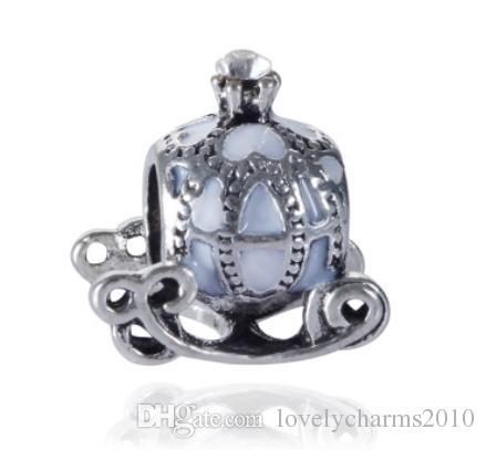 Se adapta a las pulseras de Pandora princesa de la calabaza del coche esmalte de plata de los encantos granos del encanto del grano para la venta al por mayor Diy collar de plata esterlina joyería