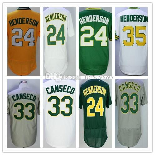 9ae0aab44 Cheap 24 35 Rickey Henderson Jersey Vintage Stitched Oakland 33 Jose ...