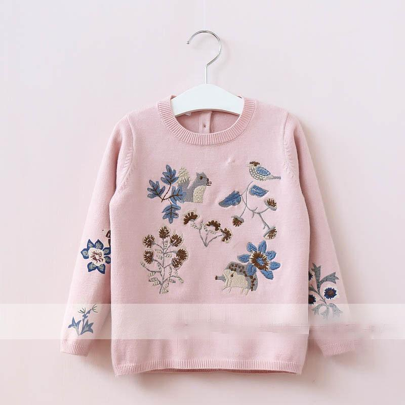 Everweekend Girls Animal Floral Embroidered Sweater Cute Baby Pink ...