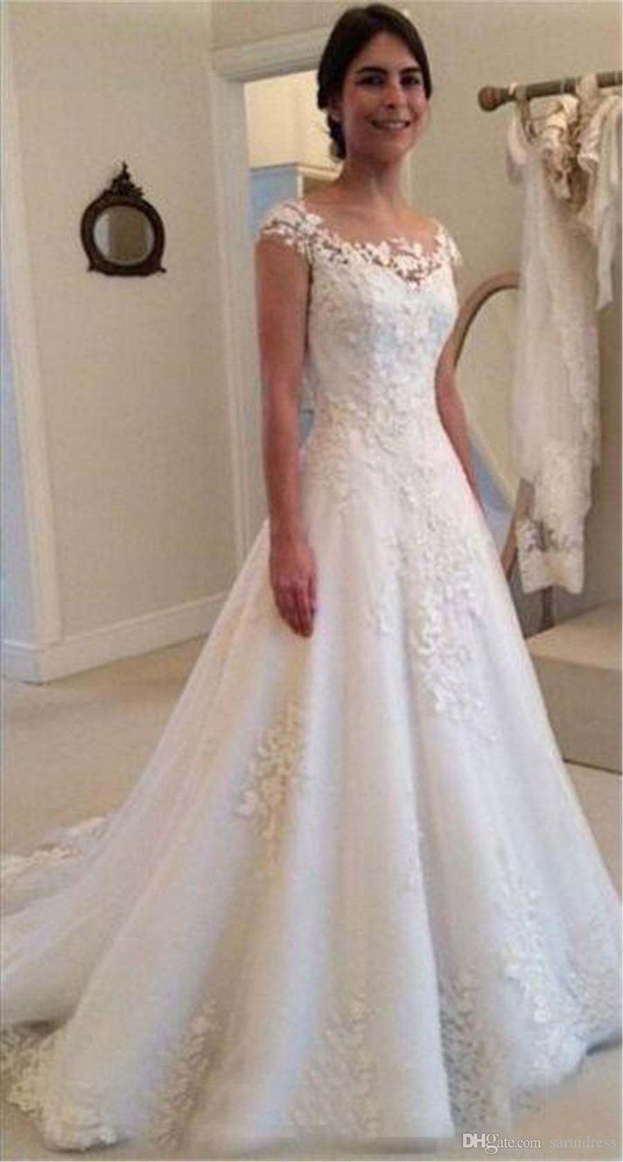 Jewel Heel кружева Applicies Смотреть сквозь кнопку задние винтажные свадебные платья свадебные свадьбы Элегантный сад Западная страна a line Свадебные платья