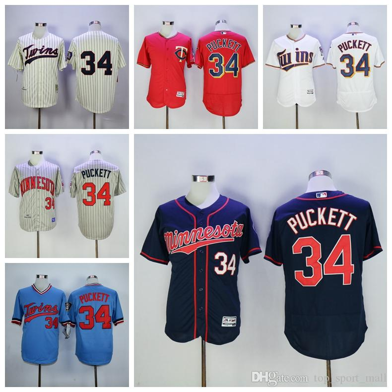 7d1dca8a59b ... 2017 Baseball 34 Kirby Puckett Jersey Flexbase Minnesota Twins  Throwback Jerseys 1987 Cooperstown Cream Blue Grey Mens 34 Majestic MLB ...