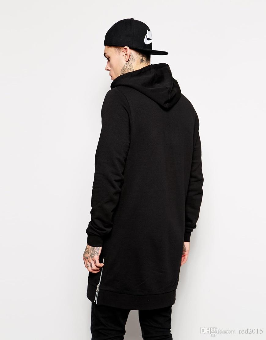 Großhandels-New angekommen Longline Hoodies Männer Fleece solide Sweatshirts Mode Tall HoodieSets der Frühling und Herbst und die lange Kapuze