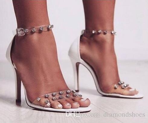 62dede998681 Clear Transparent PVC Open Toe Rhinestone Sandals Shoes Ankle Wrap Stiletto  High Heels Shoes Sexy Fashion Dress Woman Shoes Sexy Shoes Sandels From ...