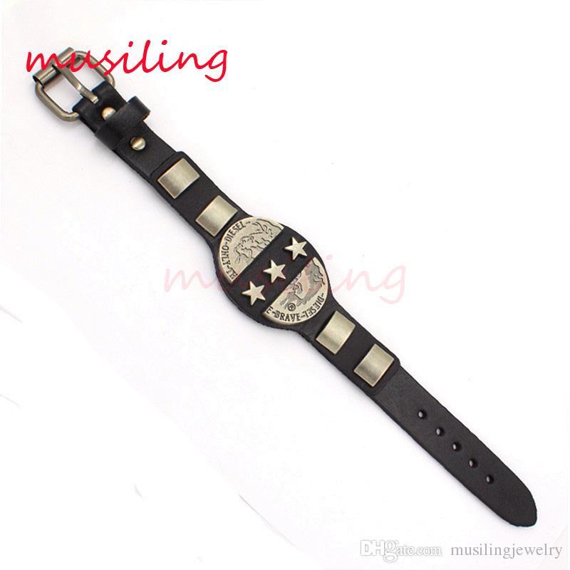 Leather Bracelets Bangle Jewelry Mens Bracelet Stars Accessories Watch Band Design Adjustable Hip Hop Decorations Amulet Jewelry