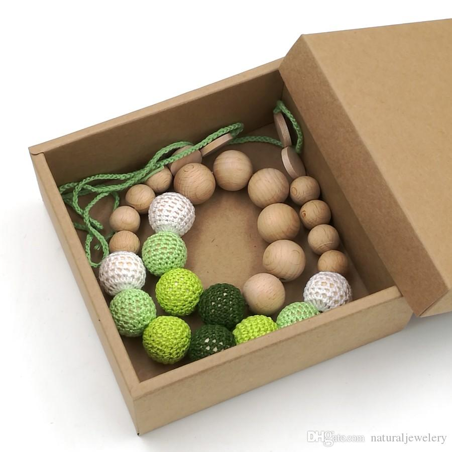 gift box SALE EVERYDAY Yellow green crochet teething necklace, Plain beech wooden beads baby toy baby teether ENS02