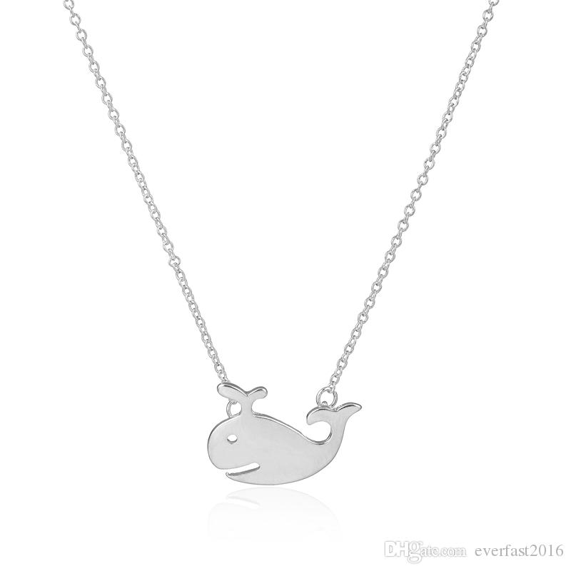 Cute Animal Accessories Lovely Swimming Whale Pendant Necklaces Long Chain Necklace for Women Kids Sailor Fashion Jewelry Lovers Necklace