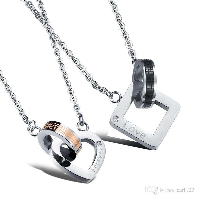Wholesale his hers necklace set couples stainless steel for Couples matching jewelry sets