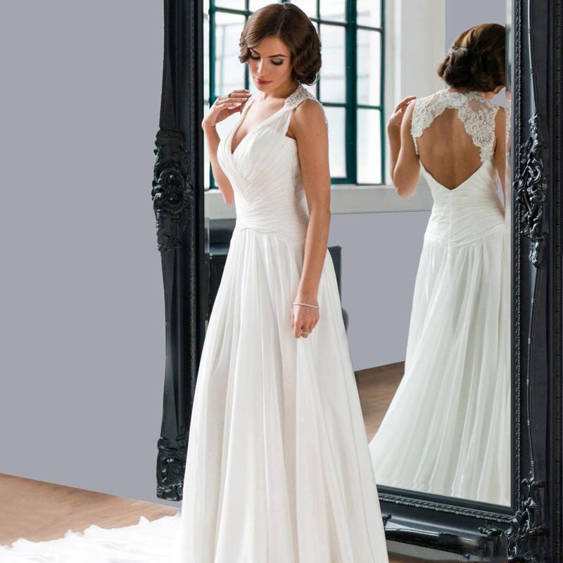 2016 A Line Chiffon Wedding Dresses Sexy Deep V Neck Court Train Pnina Tornai Bridal Gowns