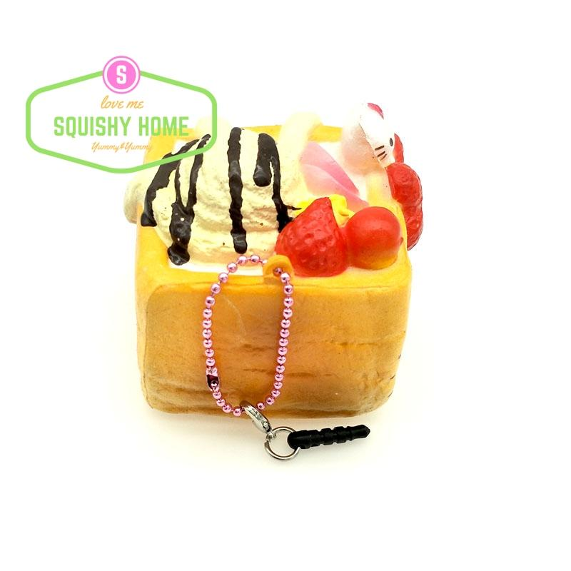 Kuutti Squishy Wholesale 10Pcs Vanilla Block Cake Simulation Kawaii Mobile Phone Strap /Dust Plug Squishy Home Novelty