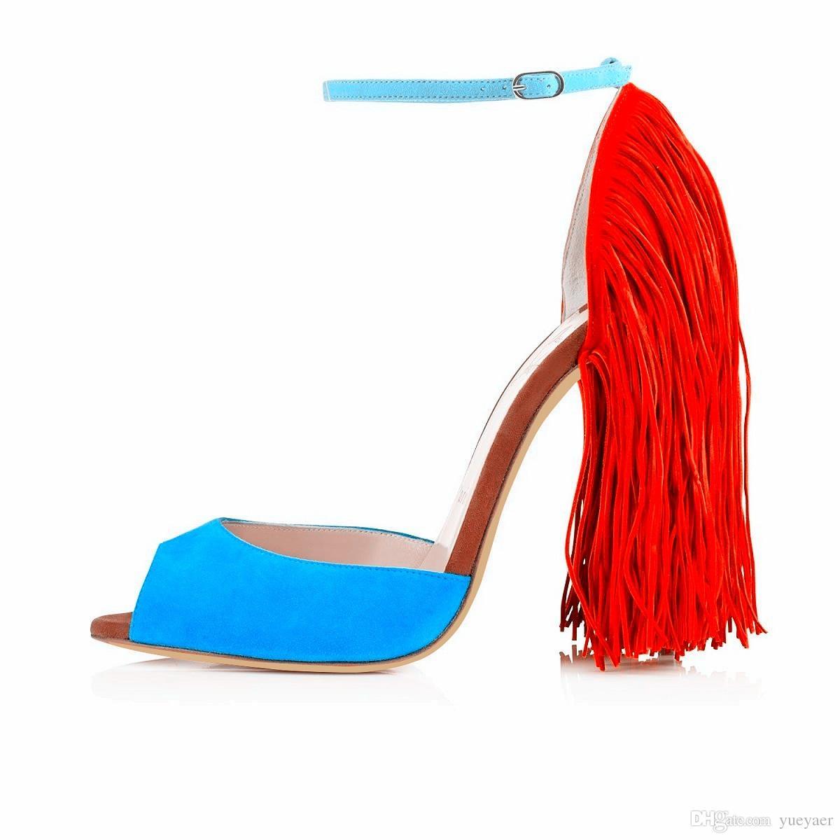 Karmran donne moda fatti a mano Dasanovella 120 millimetri peep toe cinturino alla caviglia sandali tacco alto scarpe blu Z62511