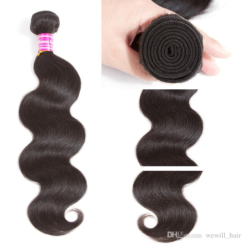 100% Unprocessed Brazilian Body Wave Straight Human Hair Weave OR Brazilian Human Hair Wefts Machine Double