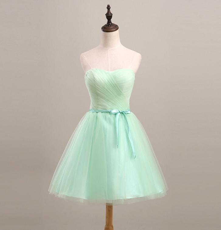 Robe de demoiselle d'honneur douce robe de bal tulle courte avec arc 2018 Sweetheart robe de mariée robe formelle vers le haut