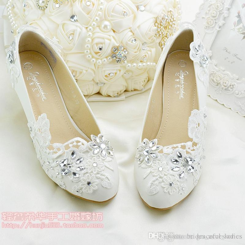 5e86c9942d3 Crystal Lace Flower Wedding Shoes Bridal Accessories Bridal Shoes Cheap Flat  Heel And Low Heel Wedding Shoe Slip Ons Size 4-Size 9 Flat Wedding Shoes  Bridal ...