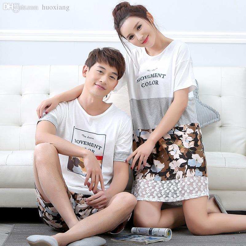 2019 Wholesale New Couple Short Sleeve Cotton Sleep Pajama Sets Male Nightwear  Lady Pyjamas Nightgowns Teenage Pijamas Sleepwear From Huoxiang 37bbf4f61