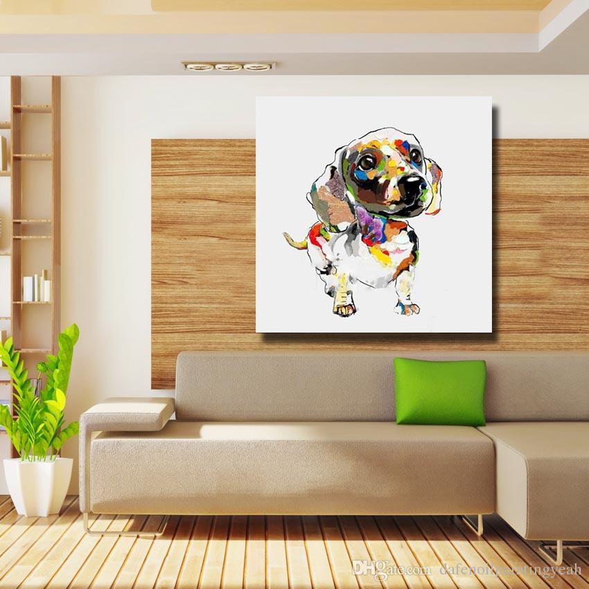 Acquista Pittura Soggiorno Parete Dipinta A Mano Cane Pittura A Olio Home  Decor Immagini A Parete Moderna Su Tela Pittura Animale No Incorniciato A  ...