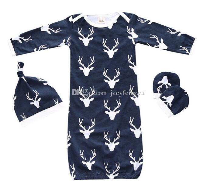Bébé Sacs de Couchage Noël Elk Infantile Swaddle Sack Chapeau Cap Gants Pyjamas Enfants Vêtements Automne Hiver Vêtements Ensemble pour Garçons Filles Nouveau BB027