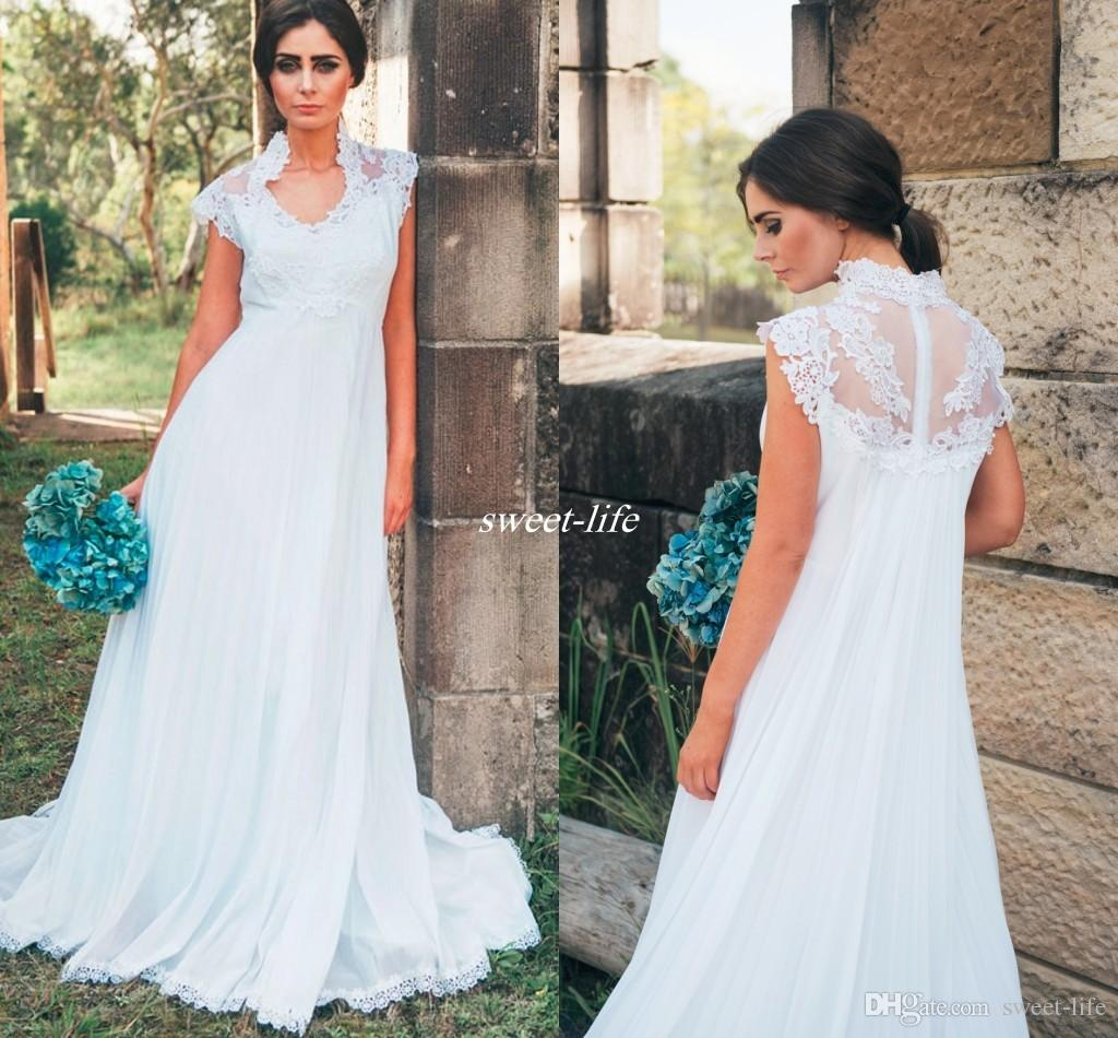 Country Maternity Wedding Dresses Empire Waist High Neck Applique Lace Floor  Length Chiffon 2016 Summer Outdoor Pregnant Bridal Gowns Cheap Cheap Ball  Gowns ... 3ce6b892b081