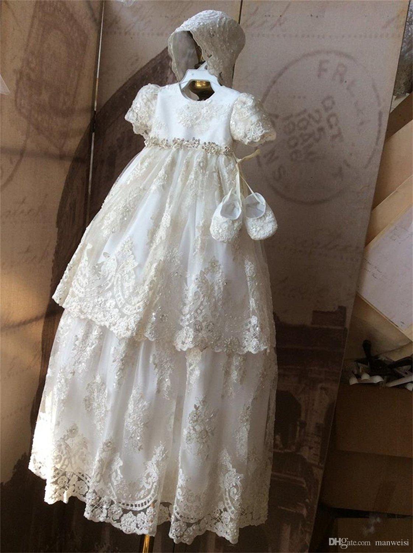 großhandel vintage lace taufkleider für babys kurze Ärmel applizierte  perlen taufe kleider mit bonnet erste kommunikation kleid von manweisi,  79,01 €