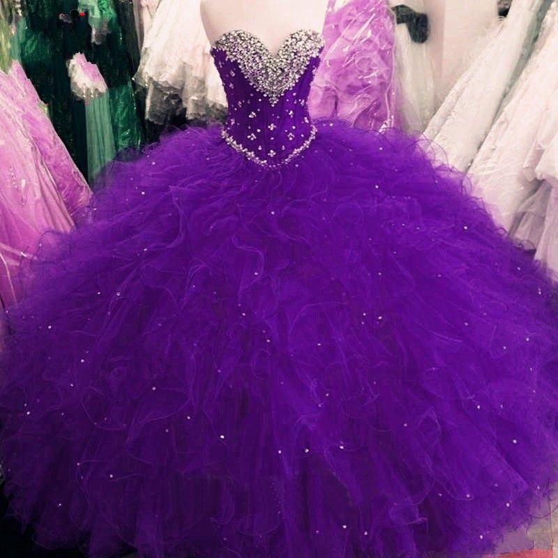 Quinceañera vestidos 2021 princesa bola vestido rojo púrpura dulce 16 vestidos lentejuelas con cuentas lentejuelas encaje encima de los vestidos volantes con talla grande Vestidos de 15