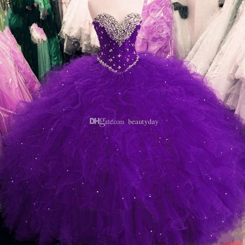 Vestidos de Quinceanera 2021 Princesa Ball Vestido Vermelho Roxo Doce 16 Vestidos Lantejoulas Frisadas Lace Up Vestidos Ruffles Plus Size Vestidos de 15