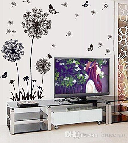 Use decals wall stickers properly can bring big changes to your house flower and grass decals walls for the spring blue and yellow deco stickers for walls