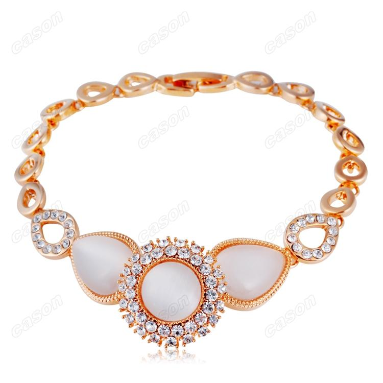 Brand Cason Ellegant Women Jewelry Pear shaped connection Crystal Charm Bracelet 18K Gold Plated White colour Drop Shipping BRJ-0008