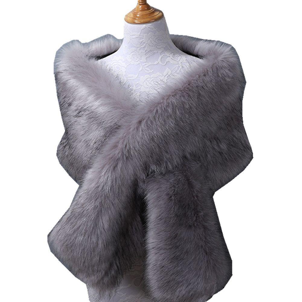 2019 Nuevo Bridal Stick Wraps Colorful Faux Fur Shawl Mujeres Abrigo de invierno para niña de fiesta de cóctel Barato En stock es