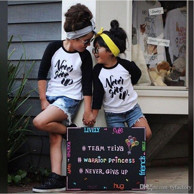 high quality fashion boys girls tshirt Organic Toddler Kids Boy Girl Long Sleeve Tops Never give up funny letters printed Tees Clothes 1-6Y